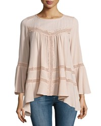Cirana Flared Lace Inset Top Light Pink