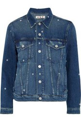Amo Pop Embroidered Distressed Denim Jacket Mid Denim