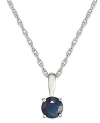 Macy's Sapphire Pendant Necklace In 14K White Gold 5 8 Ct. T.W.