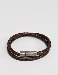 Jack And Jones Leather Double Wrap Bracelet In Brown Brown