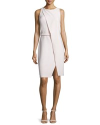 Halston Sleeveless Fold Over Sheath Dress Barely Pink