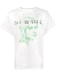 Off White Face Print Sheer T Shirt White