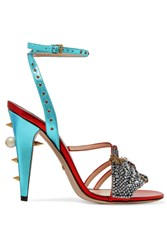 Gucci Embellished Metallic Leather Sandals Red