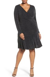 Michael Michael Kors Plus Size Women's Shimmer Knit Faux Wrap Flounce Dress Black