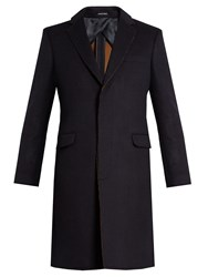 Alexander Mcqueen Frayed Edge Single Breasted Coat Navy