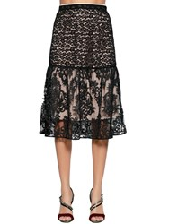 N 21 Animalier And Demask Lace Skirt Black Nude