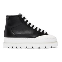Maison Martin Margiela Mm6 Black Leather Hiking Boots