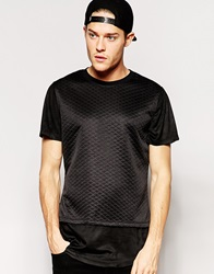 Standard Issue Quilted T Shirt With Faux Suede Sleeve Black