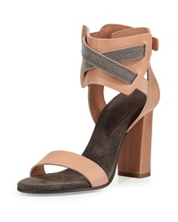 Monili Chain Crisscross Leather Sandal Biscotti Brunello Cucinelli