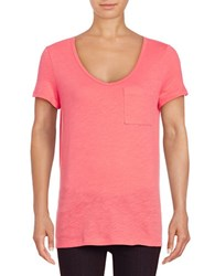 Lord And Taylor Petite Solid Scoopneck Cotton Slub Tee Cherry