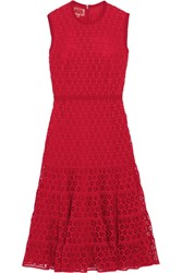 Giambattista Valli Cotton Blend Guipure Lace Midi Dress Red