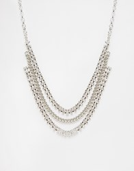 Lipsy Two Row Necklace Rhodium