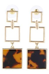 Ben Amun Woman 24 Karat Gold Plated Tortoiseshell Acetate Earrings Gold