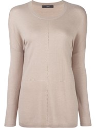 Steffen Schraut Perforated Detailing Pullover Nude And Neutrals