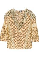 Just Cavalli Lace Trimmed Floral Print Silk Gauze Blouse Multi