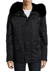 Yves Salomon Solid Long Sleeve Parka Black