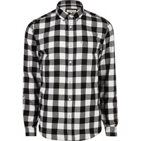River Island Mensblack And White Casual Check Flannel Shirt