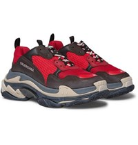 Balenciaga Triple S Mesh Nubuck And Leather Sneakers Red