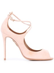 Aquazzura Open Toe Pumps Pink Purple