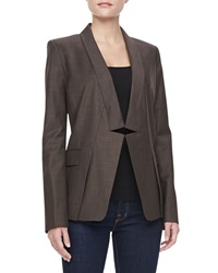Halston Heritage Relaxed Notched Collar Blazer Heather
