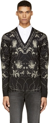 Alexander Mcqueen Black Paisley And Floral Sweater