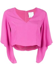 C Meo Collective V Neck Cropped Blouse Pink Purple