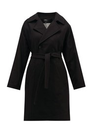 A.P.C. Bakerstreet Belted Wool Blend Trench Coat Black
