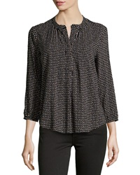 Velvet Heart Dotty Print Split Neck Blouse Black