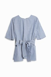 Adam By Adam Lippes Belted Shirting Top Blue