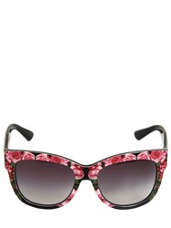 Dolce And Gabbana Rose Print Acetate Squared Sunglasses