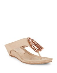 Kenneth Cole Reaction Great Tassel Party Wedge Thong Sandals Nude