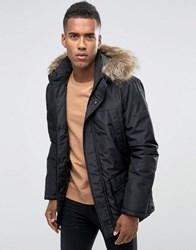 Jack And Jones Parka With Faux Fur Hood Black