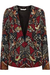 Alice Olivia Orion Embellished Silk Jacket Claret