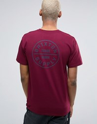 Brixton Oath T Shirt With Back Print Red