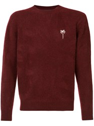 The Elder Statesman Chest Embroidery Jumper Unisex Cashmere Xs Red