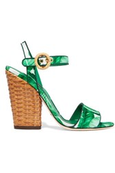 Dolce And Gabbana Printed Satin Sandals Green