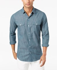 Inc International Concepts Men's Textured Chambray Shirt Created For Macy's Emerald Embrace