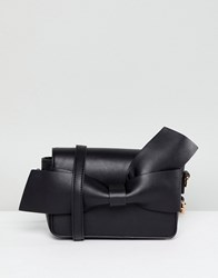 Melie Bianco Vegan Bow Detail Clutch Black