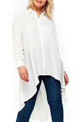 Evans Plus Size High Low Top Ivory