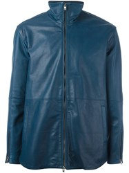 Diesel Black Gold Zipped Leather Jacket Blue