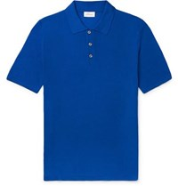 Brioni Slim Fit Knitted Silk Polo Shirt Blue