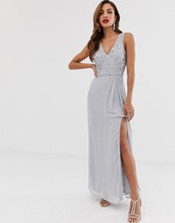 Little Mistress V Front And Back Sleeveless Maxi Dress Grey