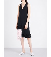 Paskal Fringe And Ruffle Trim Satin Dress Black Bubblegum Pink