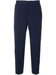 Alexander Mcqueen Track Style Cropped Trousers Blue