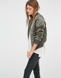 New Look Quilted Bomber Jacket Khaki Green