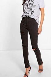 Boohoo Distressed High Rise Tube Jeans Charcoal