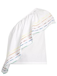 Rosie Assoulin One Shoulder Embroidered Stripe Cotton Top White