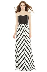 Women's Alfred Sung Strapless Stripe Sateen A Line Gown