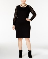 Calvin Klein Plus Size Lace Sleeve Sweater Dress Black