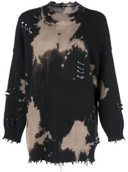 R 13 R13 Distressed Bleached Sweater Black